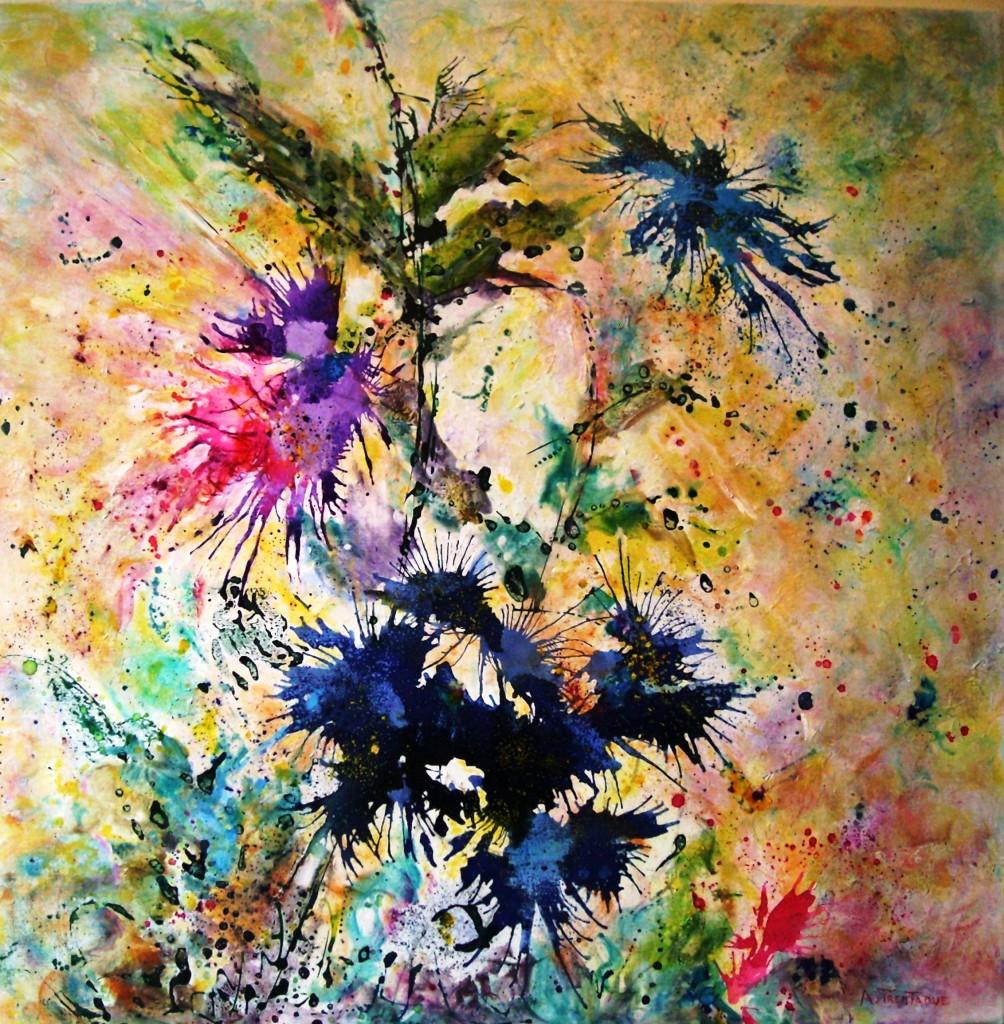 fantaisie florale2  80x80 technique mixte (4)