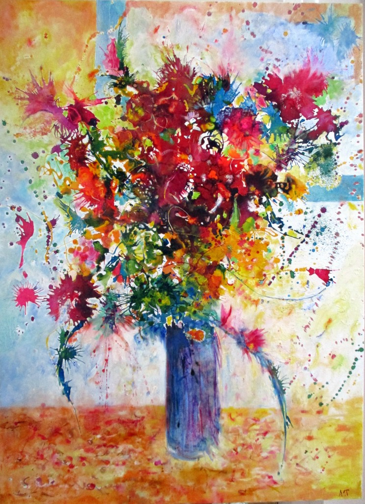 Trentadue Annick  Fantaisie poétique 100 x 73 encre, huile, pigments